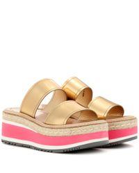 Prada | Metallic Leather Platform Sandals | Lyst