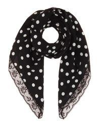 Dolce & Gabbana Black Polka-dotted Silk Scarf