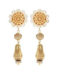 Dolce & Gabbana | Metallic Filigree Clip-on Drop Earrings | Lyst