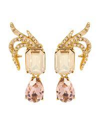 Oscar de la Renta | Metallic Crystal-embellished Clip-on Earrings | Lyst