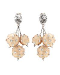 Oscar de la Renta | Metallic Beaded Clip-on Earrings | Lyst