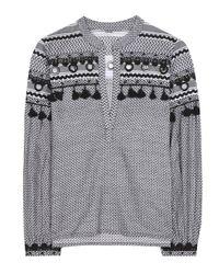 Dodo Bar Or - Black Embellished Cotton Top - Lyst