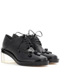 Simone Rocha - Black Embellished Leather Derby Pumps - Lyst