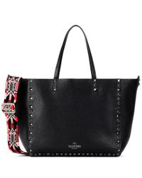 Valentino | Black Garavani Guitar Rockstud Rolling Noir Leather Shopper | Lyst