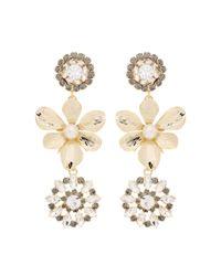 Erdem | Metallic Crystal Embellished Pearl Clip-on Earrings | Lyst