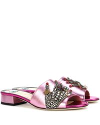 Gucci | Crystal-embellished Metallic Leather Sandals | Lyst