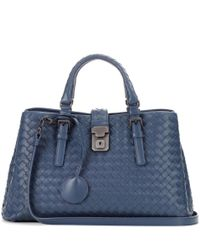 Bottega Veneta - Blue Small Roma Intrecciato Leather Tote - Lyst