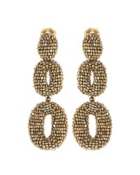 Oscar de la Renta | Metallic Oscar O Beaded Earrings | Lyst