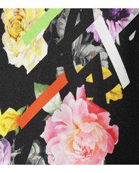 Preen By Thornton Bregazzi Black Asymmetric Floral Silk Dress