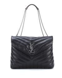 Saint Laurent - Black Medium Loulou Monogram Shoulder Bag - Lyst