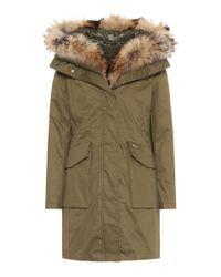 Woolrich - Green Military Fur-trimmed Parka - Lyst