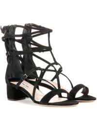 Miu Miu - Black Suede Sandals - Lyst