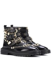 Burberry - Black Everdon Embellished Leather Ankle Boots - Lyst