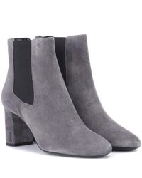 Saint Laurent - Gray Loulou Suede Ankle Boots - Lyst