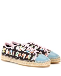 Fendi - Black Printed Leather-trimmed Sneakers - Lyst