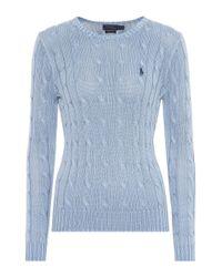 Polo Ralph Lauren - Blue Cotton Cable-knit Sweater - Lyst
