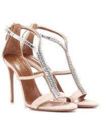 Aquazzura - Natural Constance 105 Crystal-embellished Suede Sandals - Lyst