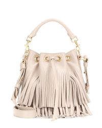 Saint Laurent - White Small Bucket Fringed Leather Tote - Lyst