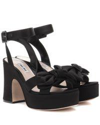 Miu Miu - Black Platform Satin Sandals - Lyst