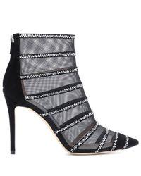 Jimmy Choo - Black Belle 100 Mesh Ankle Boots - Lyst