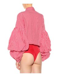 Johanna Ortiz - Red Jicarilla Gingham Poplin Bodysuit - Lyst