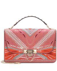 Valentino - Pink Garavani Demilune Embroidered Leather Shoulder Bag - Lyst