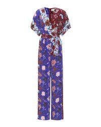Diane von Furstenberg - Blue Floral-printed Wrap Jumpsuit - Lyst