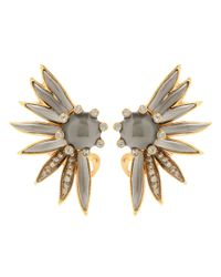 Oscar de la Renta - Gray Crystal-embellished Clip-on Earrings - Lyst
