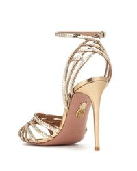 Aquazzura - Metallic Studio 105 Sequined Leather Sandals - Lyst