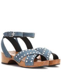 Saint Laurent - Blue Embellished Denim Sandals - Lyst