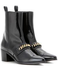 Stella McCartney - Black Embellished Patent Ankle Boots - Lyst