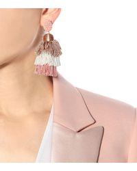 Oscar de la Renta - Pink Tassel Clip-on Earrings - Lyst