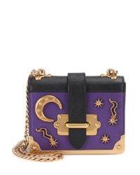 Prada - Purple Embellished Leather Shoulder Bag - Lyst