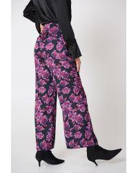 NA-KD Purple High Waist Shiny Flared Pants Blue