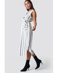 654d9f72a75 Trendyol Striped Slit Midi Dress Gray in Gray - Lyst