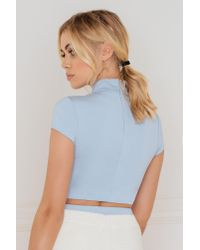 Evaliah Grace - Blue Capped Sleeve Piper Crop - Lyst