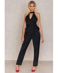 Glamorous - Black Halterneck Jumpsuit - Lyst