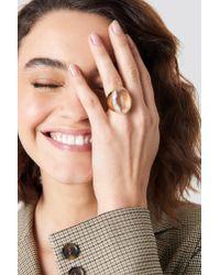 NA-KD - Metallic Glass Stone Ring Gold - Lyst