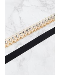 Glamorous - Metallic Ribbon And Gold Chain Choker Necklace - Lyst