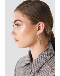 NA-KD - Metallic Embellished Asymmetric Oval Earrings Gold - Lyst
