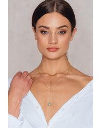 NA-KD - Metallic Triple Chain Hanging Stone Necklace - Lyst
