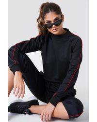 NA-KD - Cropped Track Sweatshirt Red - Lyst