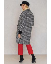 Trendyol | Black Checked Wide Collar Coat | Lyst