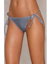NA-KD - Blue Triangle Panty Gingham - Lyst