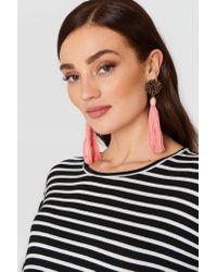 Mango - Micro Beads Tassel Earrings Pink - Lyst