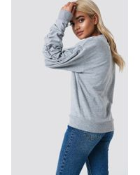 NA-KD - Gray Ruched Sleeve Sweater Grey Melange - Lyst