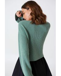 NA-KD - Cropped Long Sleeve Knitted Sweater Chinois Green - Lyst