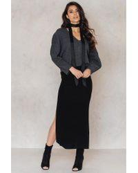 NA-KD - Black Knitted Side Slits Skirt - Lyst