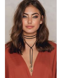 NA-KD - Black Suede Necklace With Stone Detail - Lyst