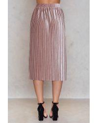 NA-KD Pleated Velvet Midi Skirt Pink